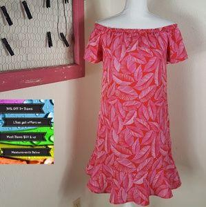 🆕️Off the Shoulder Leaf Print Dress